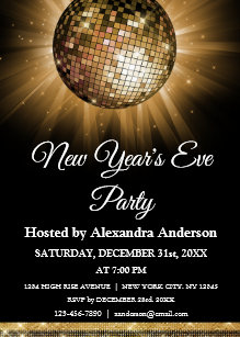 2019 new years eve party gold disco ball invitation