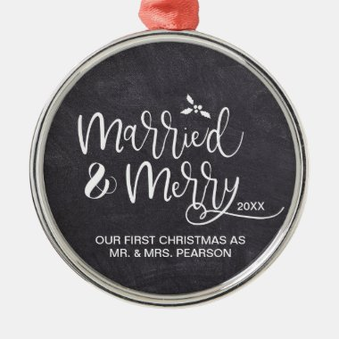 2019 Our First Christmas Married Merry Chalkboard Metal Ornament