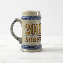 2019 Sober & Clean Recovery alcohol drug free Gift Beer Stein