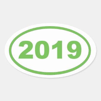 2019 verdes claros pegatina ovalada