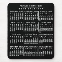 2019 Year Monthly Calendar Black White Custom Name Mouse Pad