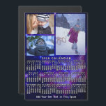 """2019 Year Monthly Calendar Space Nebula 3 Photos<br><div class=""""desc"""">This 2019 year, 3-photo and custom text / personalized monthly calendar magnetic card shows the days of the week for each month in white on an outer-space background made of the Small Magellanic Cloud tinted blue. The Small Magellanic Cloud is a galaxy about 200, 000 light-years way that orbits our...</div>"""