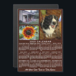"""2019 Year Monthly Calendar Wood Custom 3 Photos<br><div class=""""desc"""">This 2019 year, 3-photo and custom text / personalized monthly calendar magnetic card shows the days of the week for each month in classic, professional-looking white on a brown wood grain background. This is a simple, bold yearly calendar to help you conquer the new year. Always know what date it...</div>"""