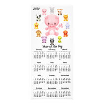 2019 Year of the Pig Cartoon Calendar Rack Card