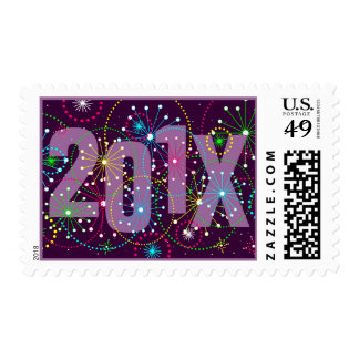 201X Fireworks Explosion New Year Postage