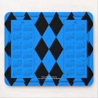 2020-2021 calendario Mousepad, Argyle Azul-Negro Tapete De Ratones
