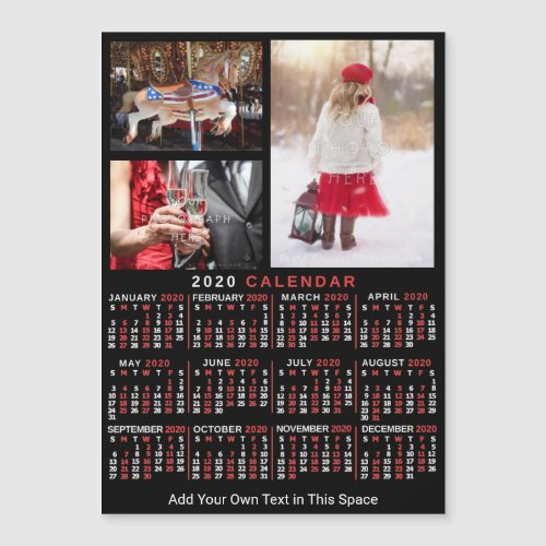2020 Calendar Black Red Personalized Photo Magnet