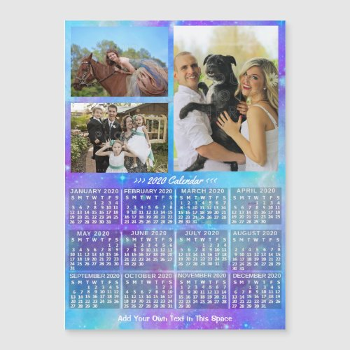 2020 Calendar Boho Watercolor Custom Photo Magnet