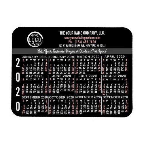 2020 Calendar Custom Business Logo Name Black Easy Magnet
