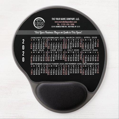 2020 Calendar Custom Business Logo Name Red Black Gel Mouse Pad