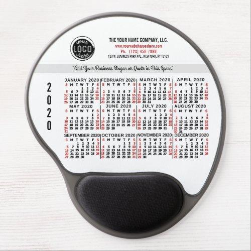 2020 Calendar Custom Business Logo Name Red White Gel Mouse Pad