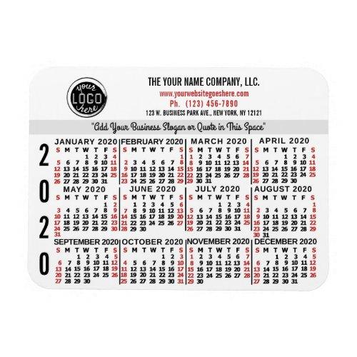 2020 Calendar Custom Business Logo Name White Easy Magnet