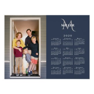 2020 Calendar Custom Photo Monogram Name Navy Blue Poster