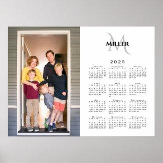 2020 Calendar Custom Photo Monogram Name on White Poster
