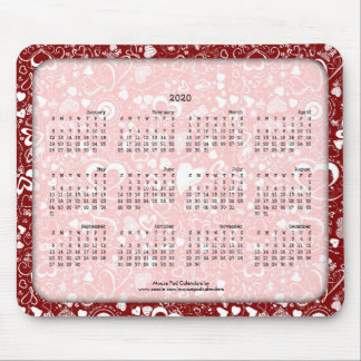 2020 Calendar Mouse Pad Hrt Love Doodles, Red