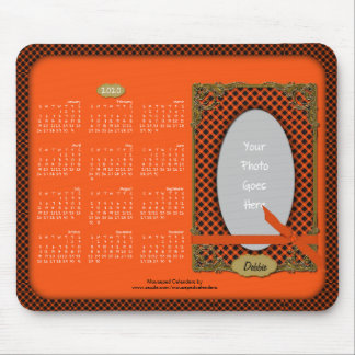 2020 Calendar Mousepad-Tartan Orange n Black Mouse Pad