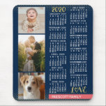 "2020 Calendar Navy Coral Gold Family Photo Collage Mouse Pad<br><div class=""desc"">Celebrate 2020 with this preppy photo collage calendar. With easy-to-read dates in bold white, this beautifully simple calendar has the words ""2020"" and ""LOVE"" in faux gold glitter with a bright coral pink bar along the bottom for your personalized family name or other text. The background is navy blue. Vertically...</div>"