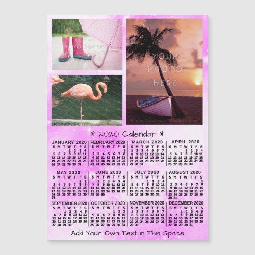 2020 Calendar Pink Watercolor Custom Photos Magnet