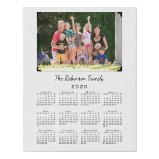 2020 Calendar with Custom Photo and Name on White Faux Canvas Print