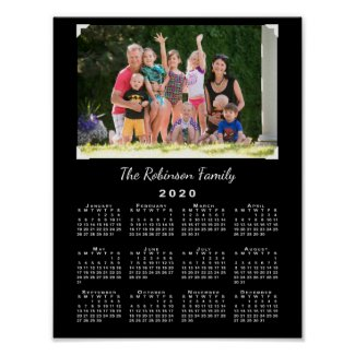 2020 Calendar with Your Photo and Name on Black Poster
