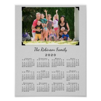 2020 Calendar with Your Photo and Name on Gray Poster