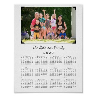 2020 Calendar with Your Photo and Name on White Poster