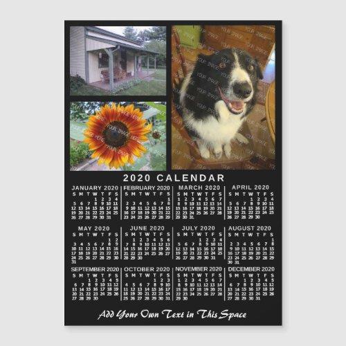 2020 Calendar Year Black Custom 3 Photos Magnet