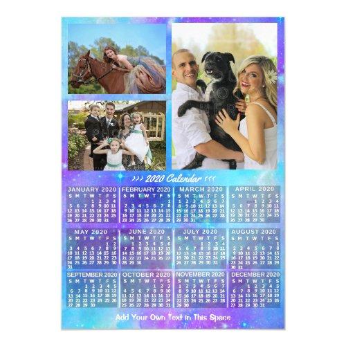 2020 Calendar Year Boho Watercolor 3 Custom Photo Magnetic Invitation