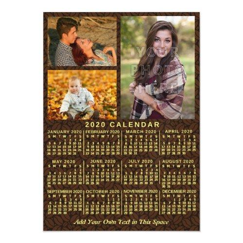 2020 Calendar Year Coffee Beans 3 Custom Photos Magnetic Invitation