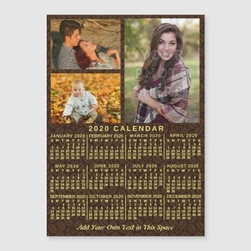 2020 Calendar Year Coffee Beans 3 Photos Magnet