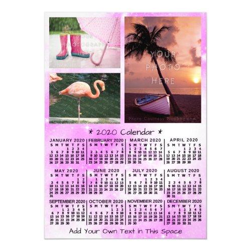 2020 Calendar Year Pink Watercolor 3 Custom Photos Magnetic Invitation
