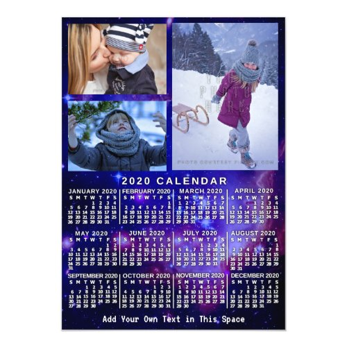 2020 Calendar Year Space Nebula 3 Custom Photos Magnetic Invitation