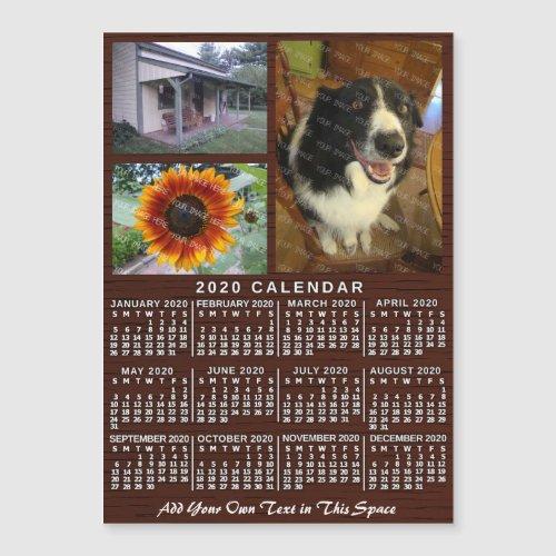 2020 Calendar Year Wood Custom 3 Photos Magnet