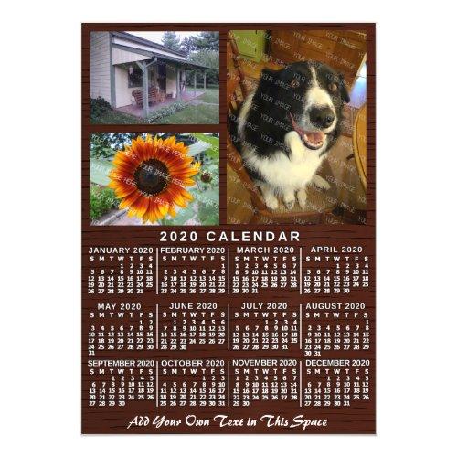 2020 Calendar Year Wood Grain Custom 3 Photos Magnetic Invitation