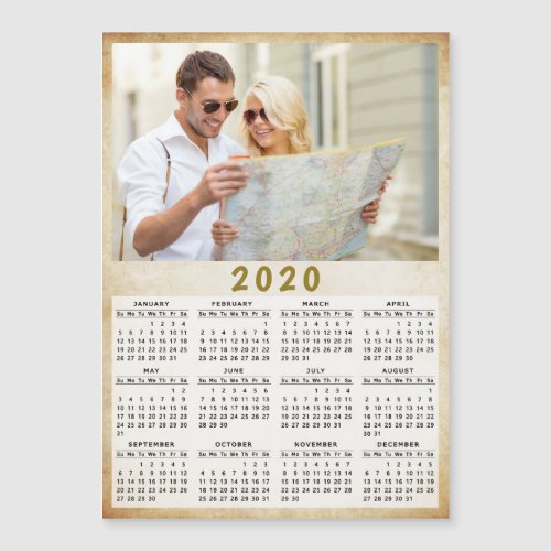 2020 Full Year Magnetic Calendar One Photo