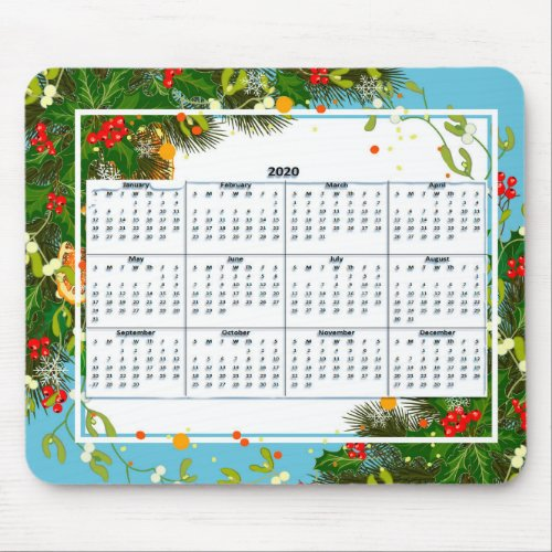 2020 Full Year View Calendar Mouse Pad