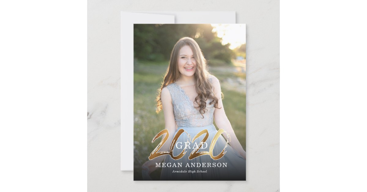2020 Graduation Announcements.2020 Gold Photo Graduation Announcement Invitation Zazzle Com