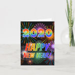 [ Thumbnail: 2020 Happy New Year! + Colorful Fireworks Pattern Card ]