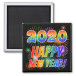 [ Thumbnail: 2020 Happy New Year! + Colorful Fireworks Pattern Magnet ]