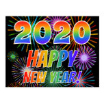 [ Thumbnail: 2020 Happy New Year!, Colorful Fireworks Pattern Postcard ]