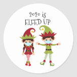 """2020 is Elfed up funny 2020 Classic Round Sticker<br><div class=""""desc"""">This design was created though digital art.  It may be personalized   Contact me at colorflowcreations@gmail.com if you with to have this design on another product.    Purchase my original abstract acrylic painting for sale at www.etsy.com/shop/colorflowart.   See more of my creations or follow me at www.facebook.com/colorflowcreations,  www.instagram.com/colorflowcreations,  www.twitter.com/colorflowart,  and www.pinterest.com/colorflowcreations.</div>"""