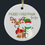 """2020 Merry Christmask Reindeer Quarantine Ceramic Ornament<br><div class=""""desc"""">This design may be personalized in the area provided by changing the photo and/or text. Or it can be customized by clicking Personalize this Template and then choosing the click to customize further option and delete or change the color of the background, add text, change the text color or style,...</div>"""