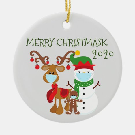 2020 Merry Christmask Reindeer Quarantine Ceramic Ornament