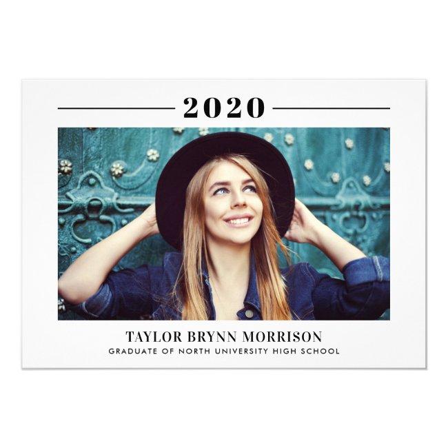 2020 Minimalist | Midnight Blue Photo Graduation Invitation