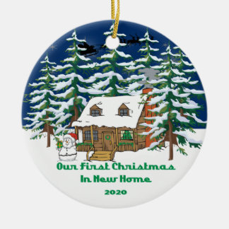 2020 New Home Christmas Cabin Ceramic Ornament