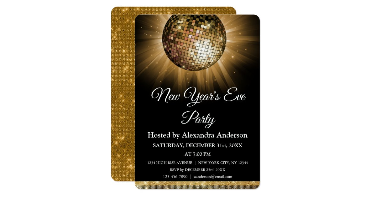 2020 New Year S Eve Party Gold Disco Ball Invitation