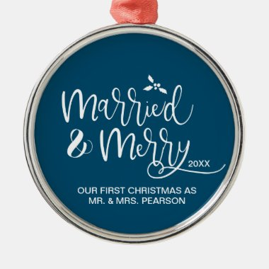 2020 Our First Christmas Married Merry blue Metal Ornament