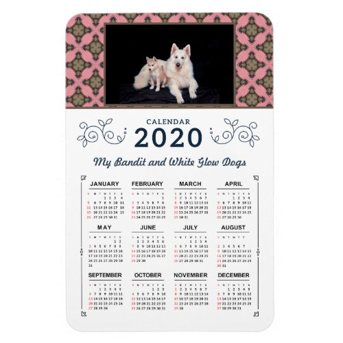 2020 Photo Personalize Custom Pink Calendars Magnet