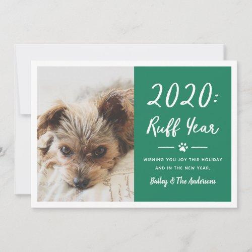 2020 Ruff Year Green Funny Dog Photo Holiday Card