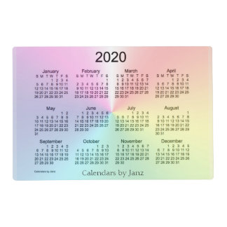 2020 Shimmer Laminated Calendar by Janz Placemat
